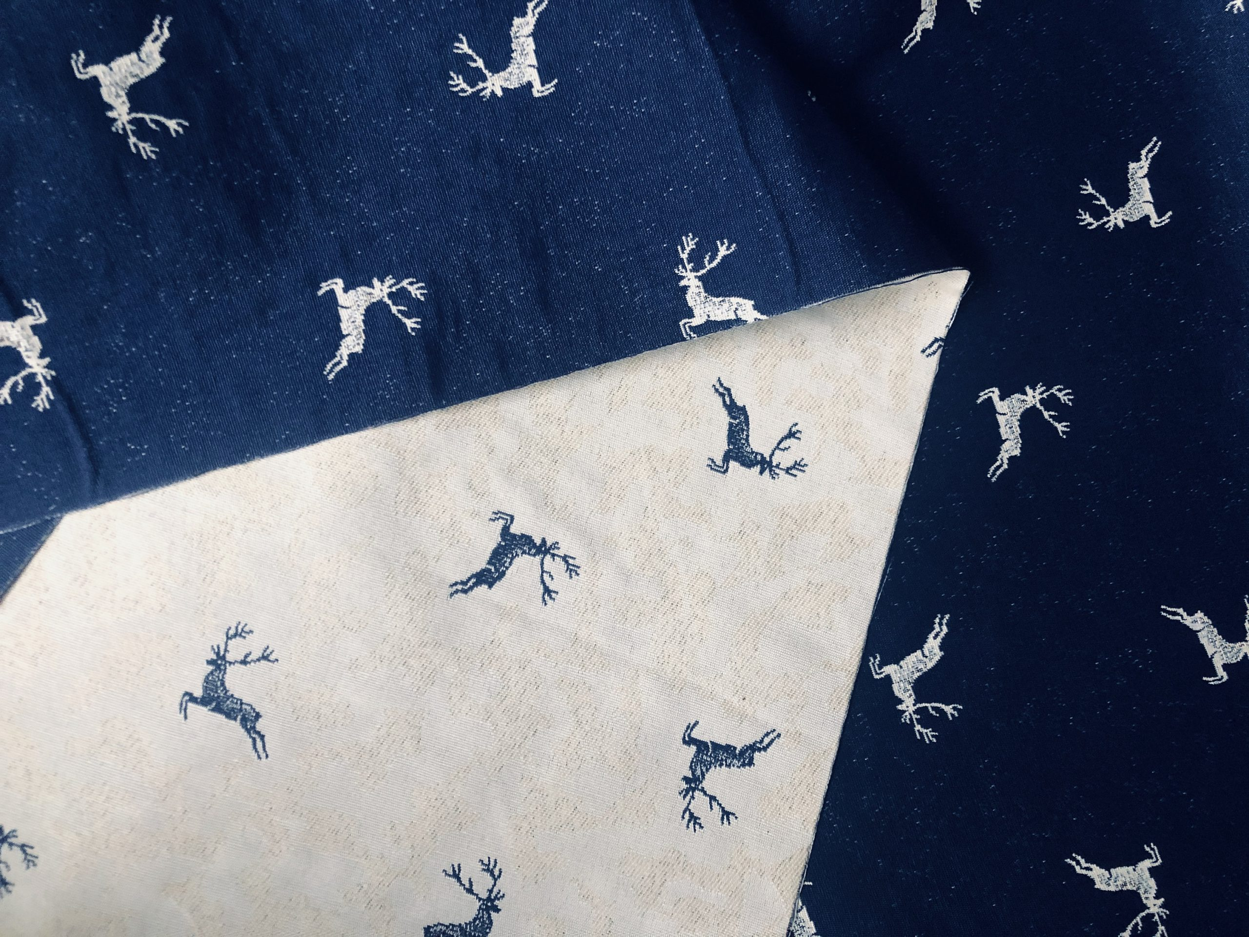 """Navy Blue Deer Jacquard Double Face Gobelin Fabric Curtain Upholstery Material Christmas Moose Elk Textile – 55""""/140cm wide Canvas"""