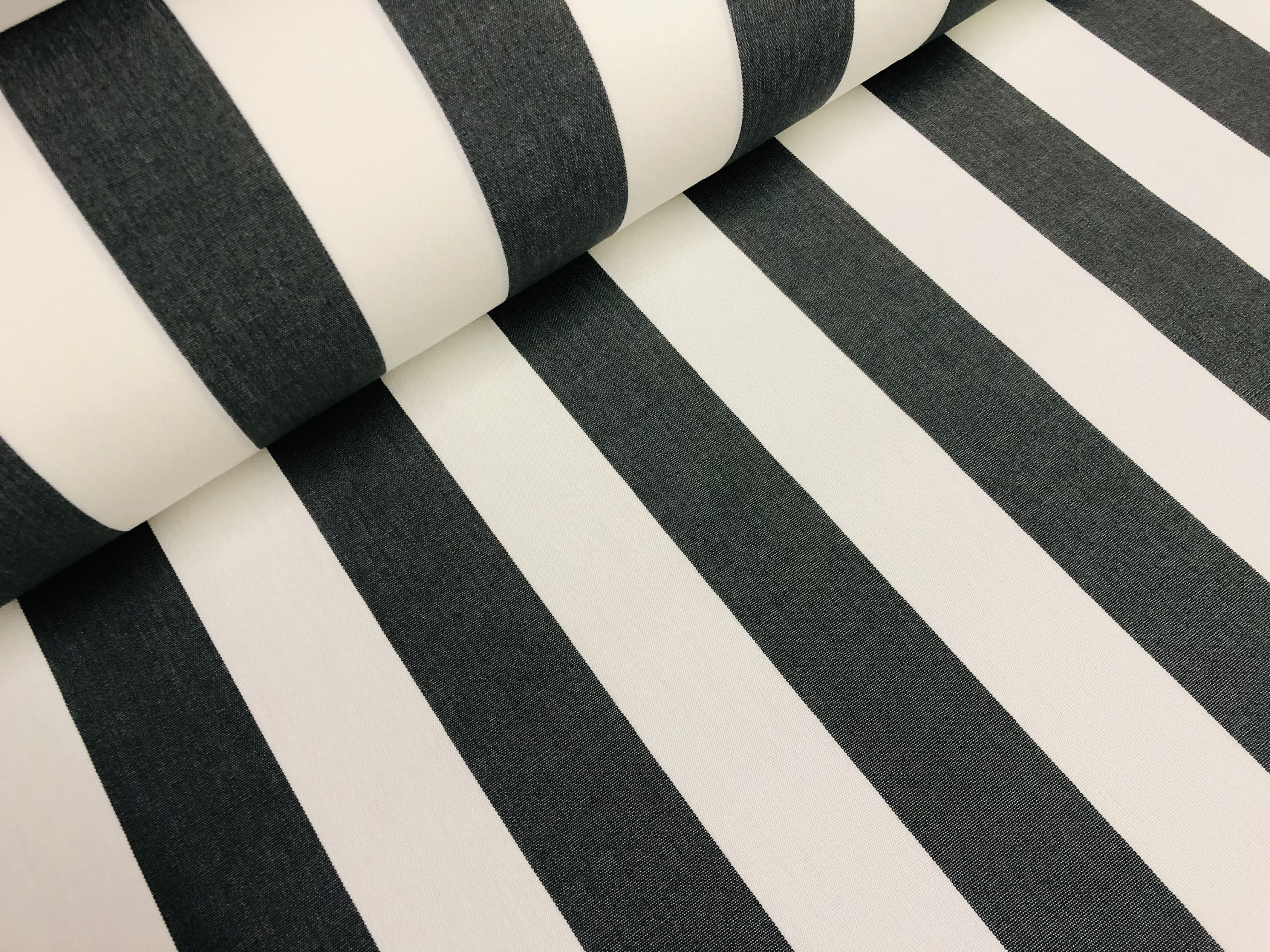 "Black & White Striped DRALON Outdoor Fabric Acrylic Teflon Waterproof Upholstery Material For Cushion Gazebo Beach – 63""/160cm Wide"
