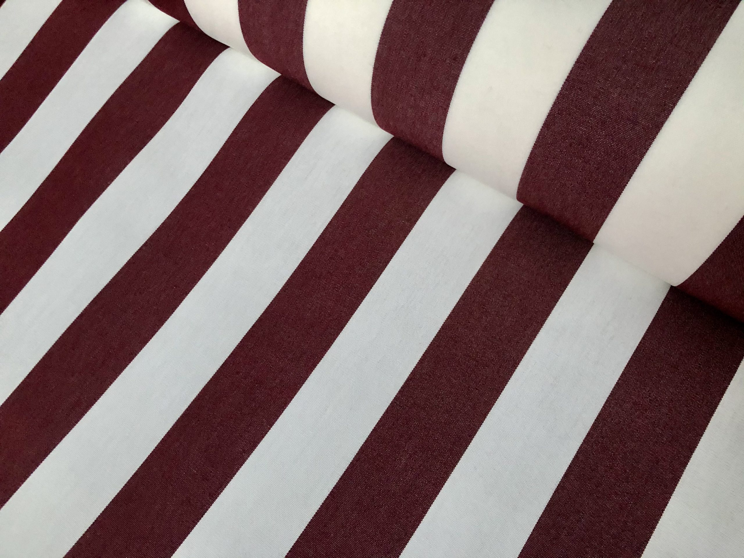 "Burgundy & White Striped DRALON Outdoor Fabric Acrylic Teflon Waterproof Upholstery Material For Cushion Gazebo Beach – 63""/160cm Wide"