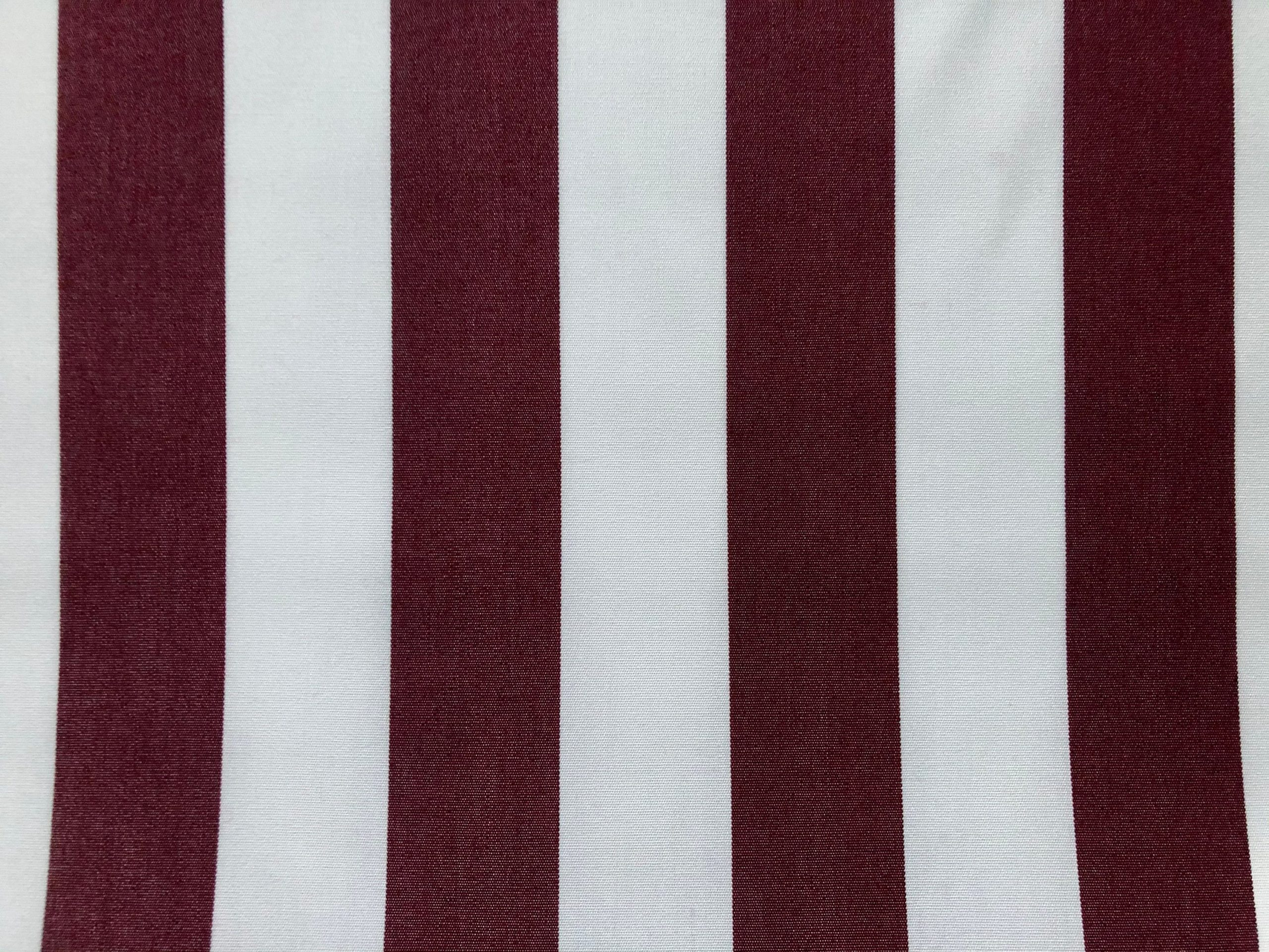 "Burgundy & White Striped DRALON Outdoor Fabric Acrylic Teflon Waterproof Upholstery Material For Cushion Gazebo Beach – 125""/320cm Wide"