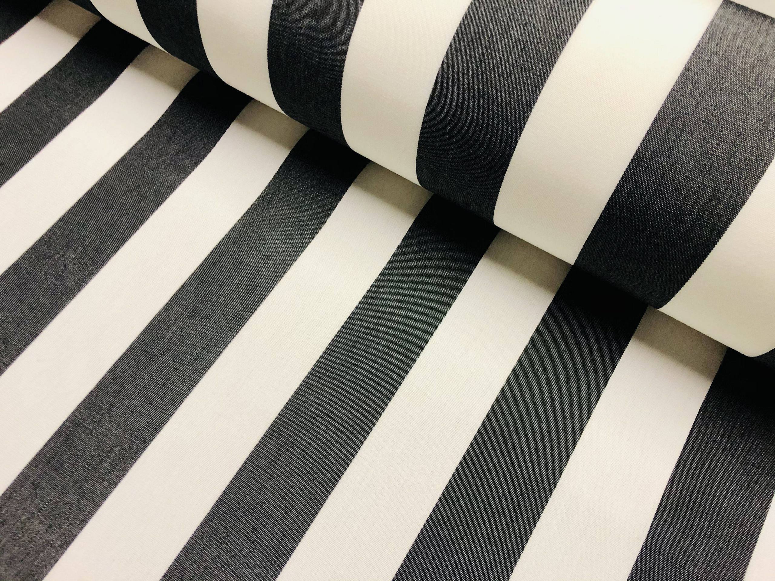 """Charcoal Grey & White Striped DRALON Outdoor Fabric Acrylic Teflon Waterproof Upholstery Material For Cushion Gazebo Beach – 63""""/160cm Wide"""