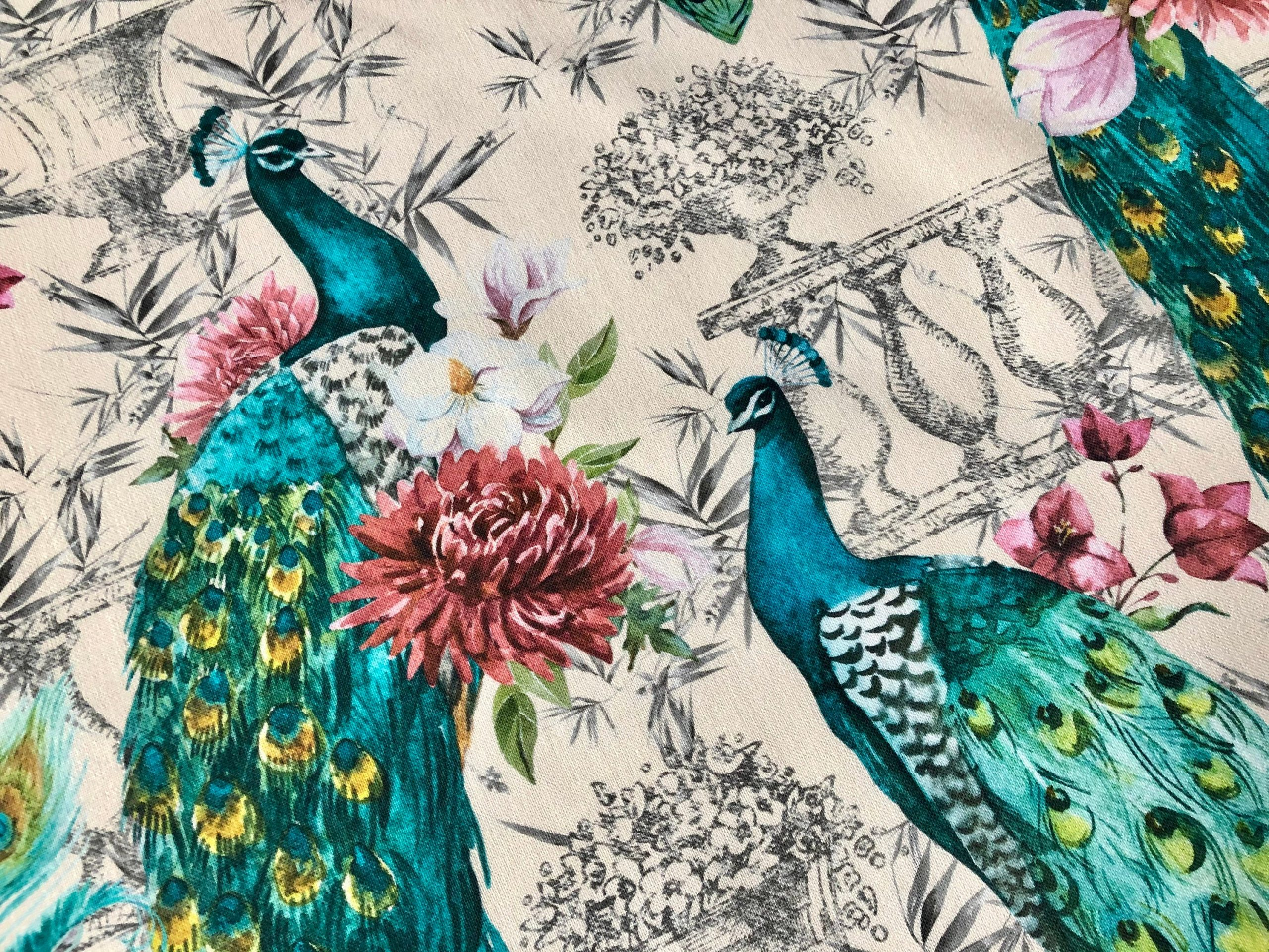 """Peacock Bird Fabric – Floral Pink Peony Garden Furnishing, Curtains, Upholstery Material – 55""""/140cm Wide – Cream & Turquoise"""