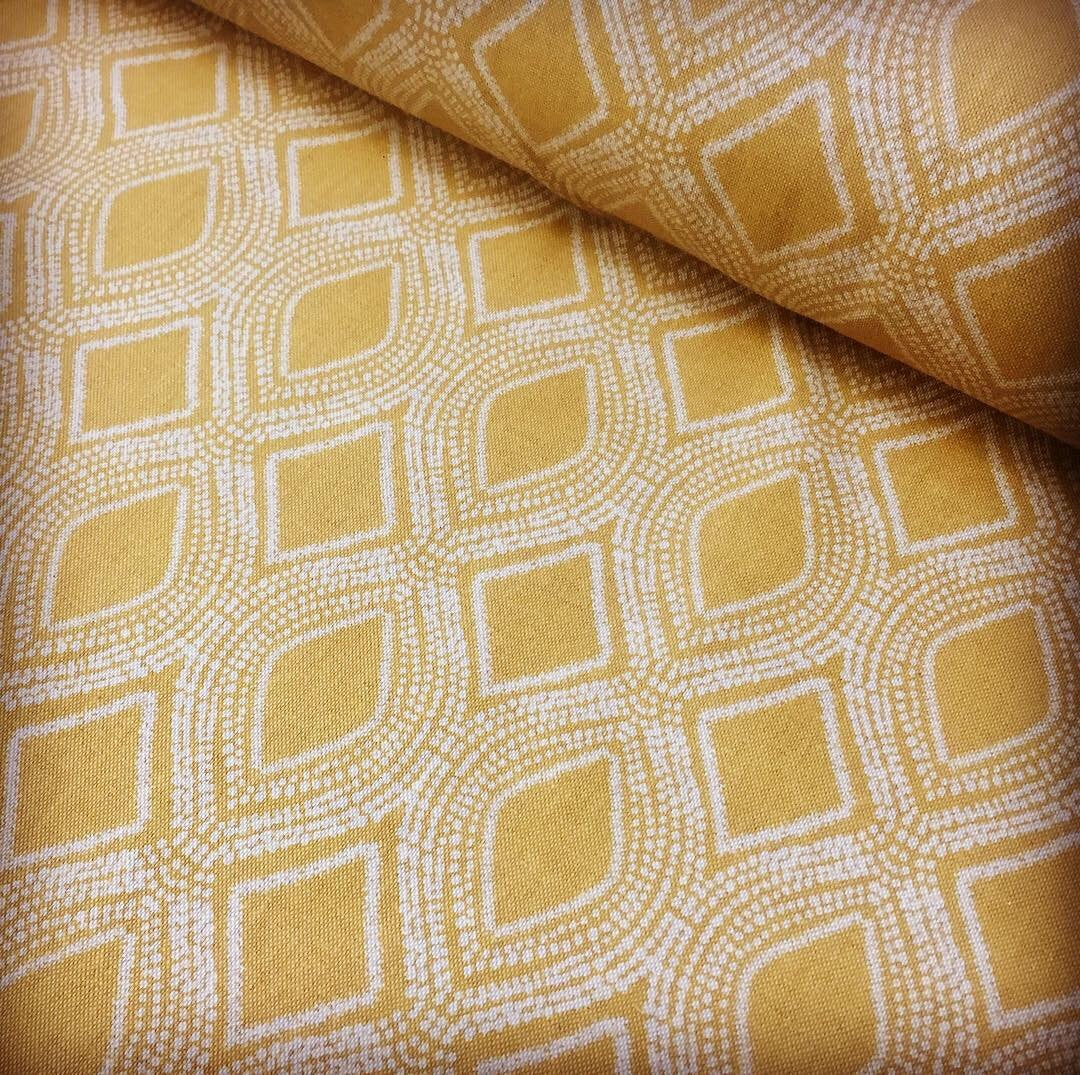 Art Deco Damask Rhombus Diamond Print Fabric Floral Cotton Material for Curtains Upholstery Home Decor 280cm EXTRA wide Ochre Mustard Cream