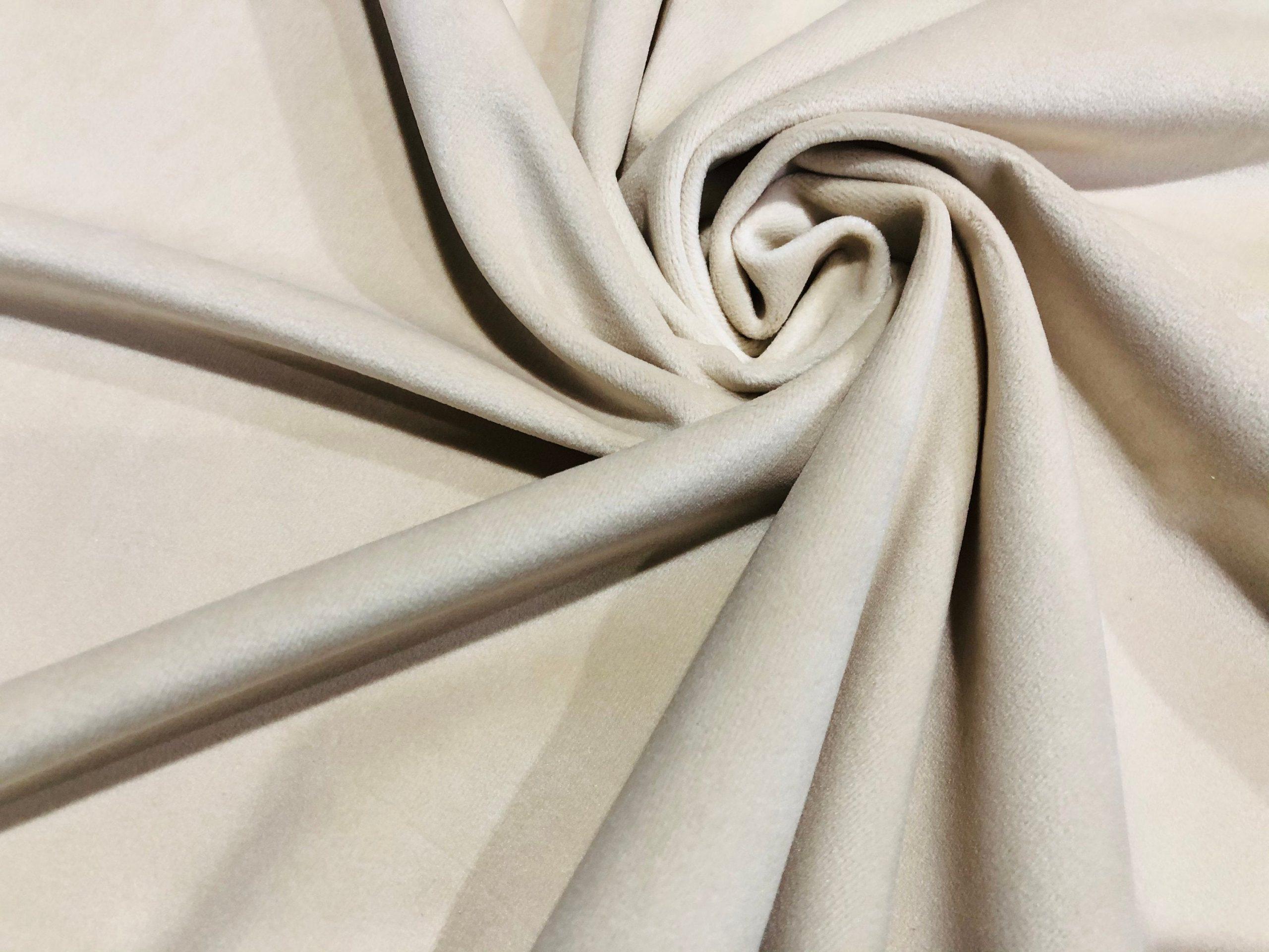 "LUX Velvet Fabric Super Soft Strong Velour Material Home Decor Curtains Upholstery Dressmaking – 59""/150 cm Wide – CREAM"