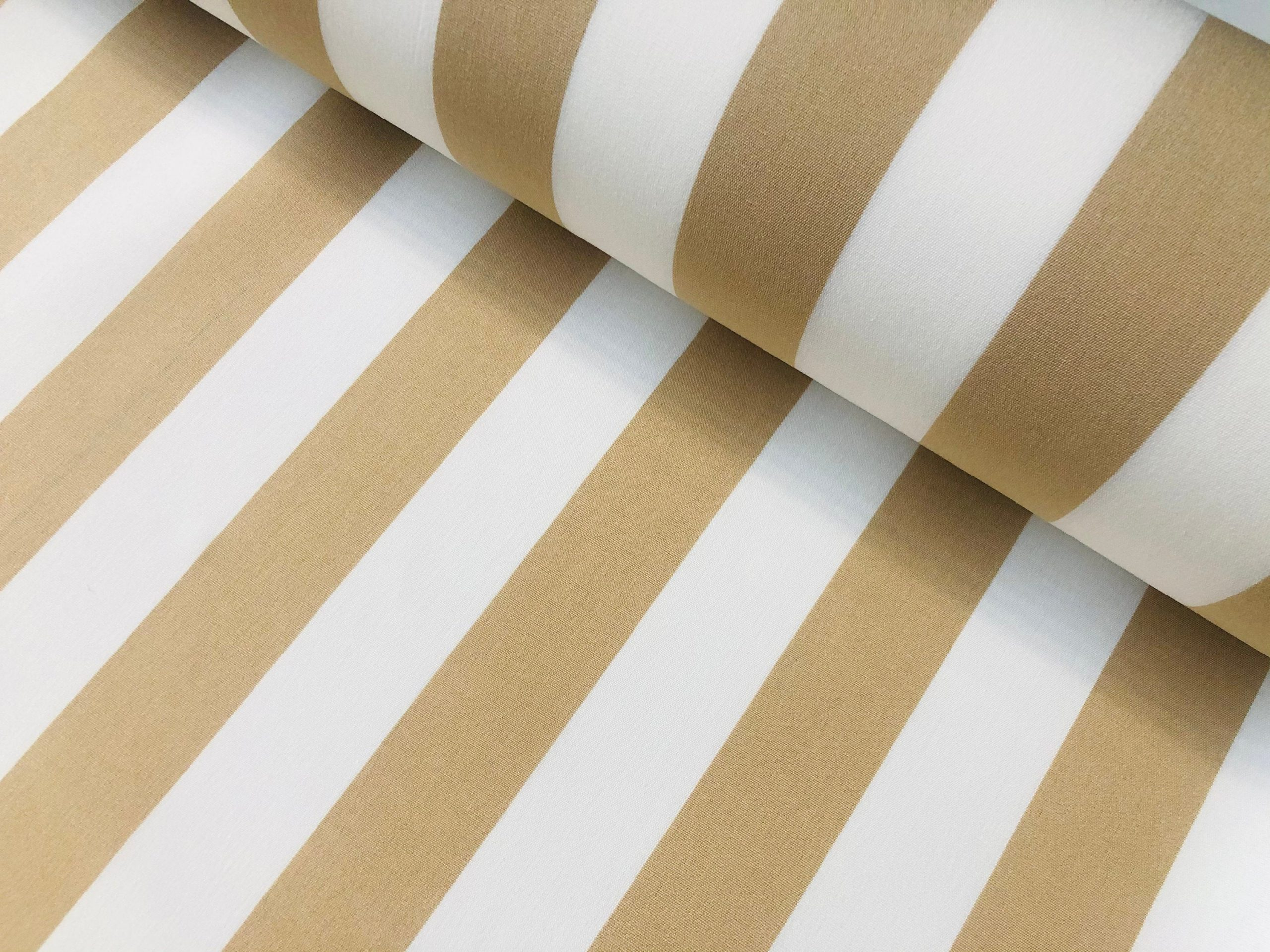 "Beige & White Striped DRALON Outdoor Fabric Acrylic Teflon Waterproof Upholstery Material For Cushion Gazebo Beach – 63""/160cm Wide"