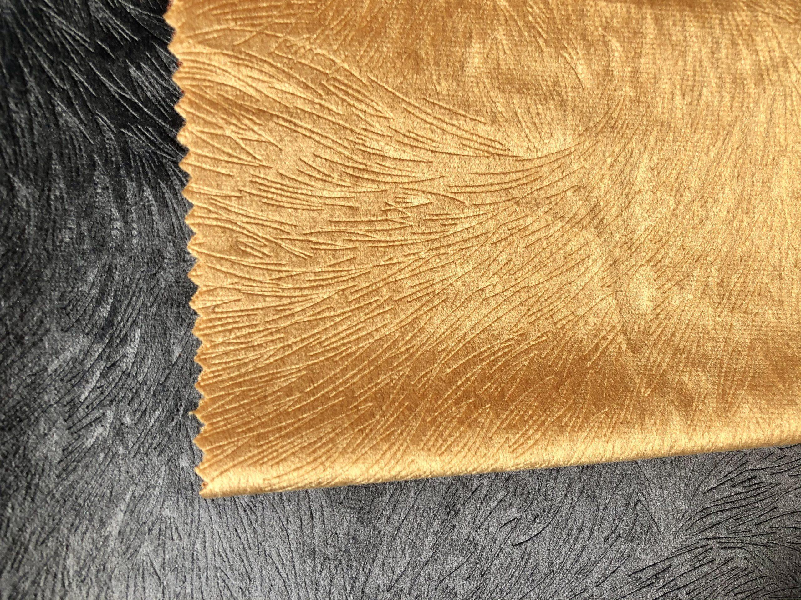 "Embossed Velvet Fabric Super Soft Velour Material Home Decor Curtains Upholstery Dressmaking – 59 ""/ 150 cm Wide – GOLD MUSTARD"