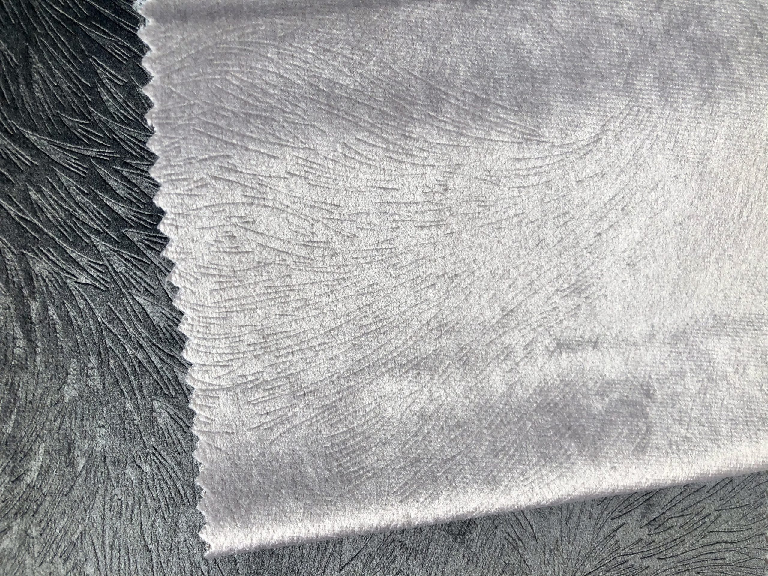 "Embossed Velvet Fabric Super Soft Velour Material Home Decor Curtains Upholstery Dressmaking – 59 ""/ 150 cm Wide – SILVER GREY"