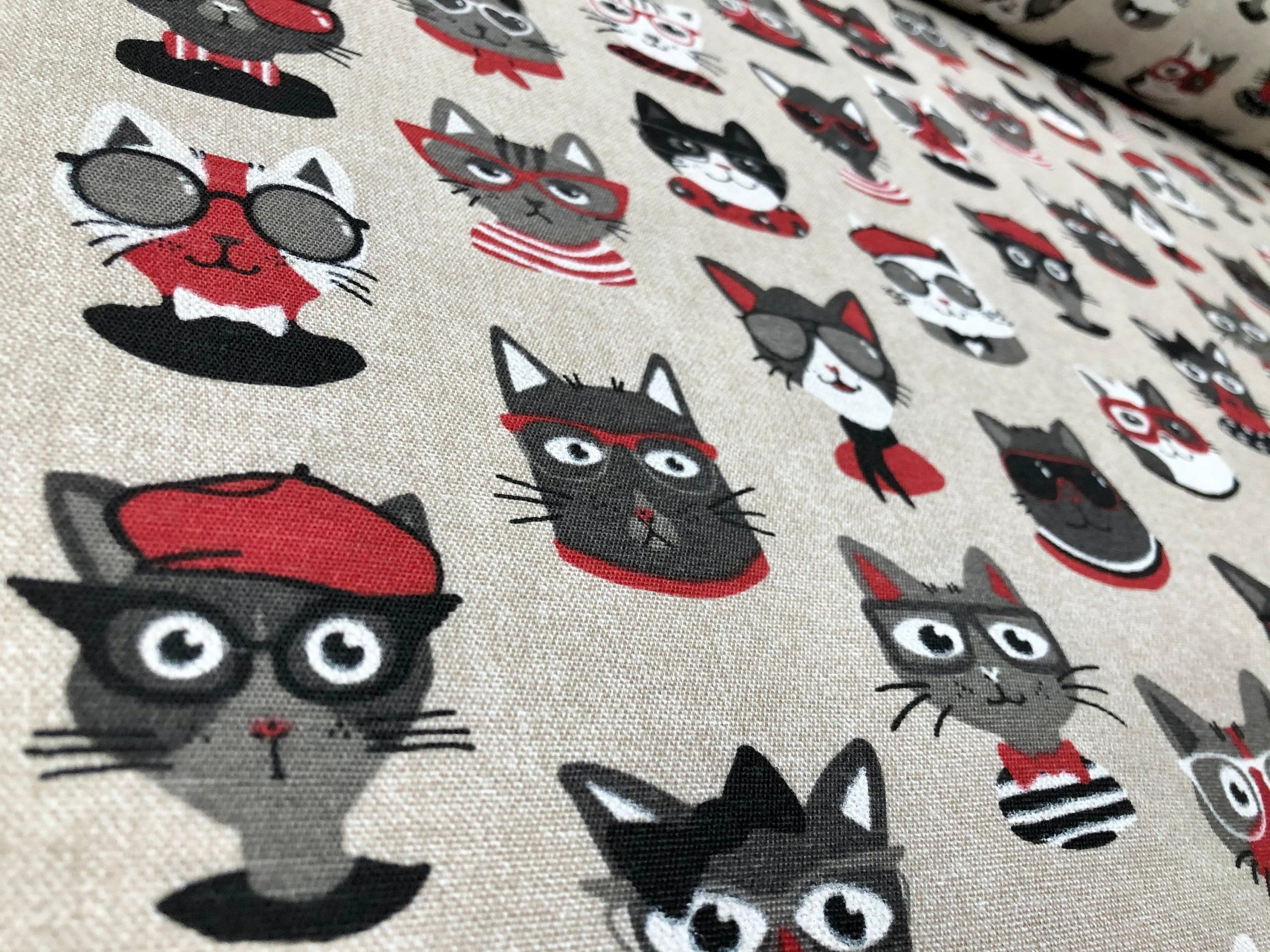 """Hipster CATS With Sunglasses Fabric Upholstery Curtain Cotton Material Funny Cool Paris Artist – 55""""/140cm wide Canvas – Cream & Red"""
