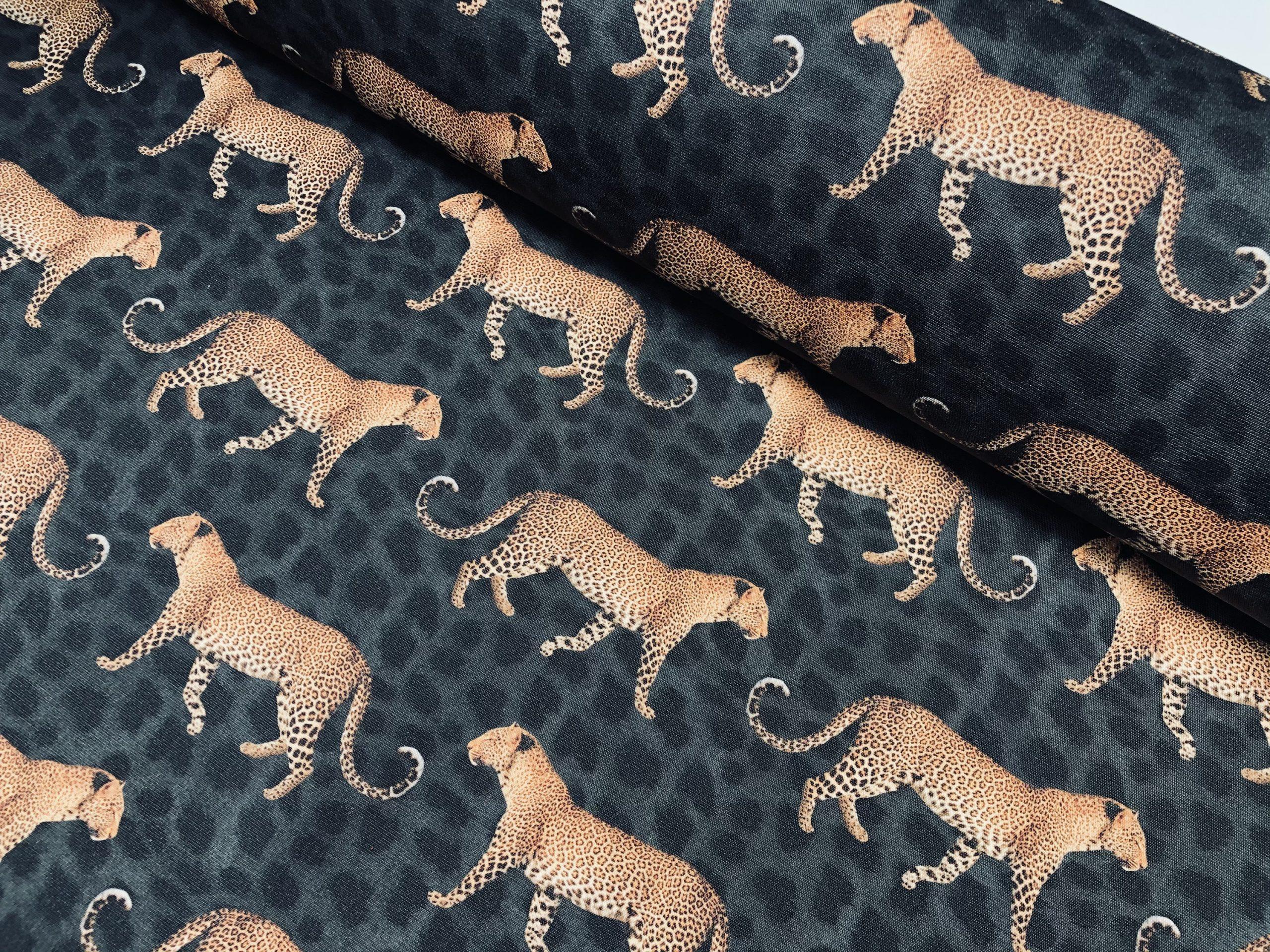 "Leopard Parade DRALON Outdoor Fabric Digital Print Acrylic Teflon Waterproof Upholstery Material For Cushion Gazebo Beach – 55""/140cm Wide"