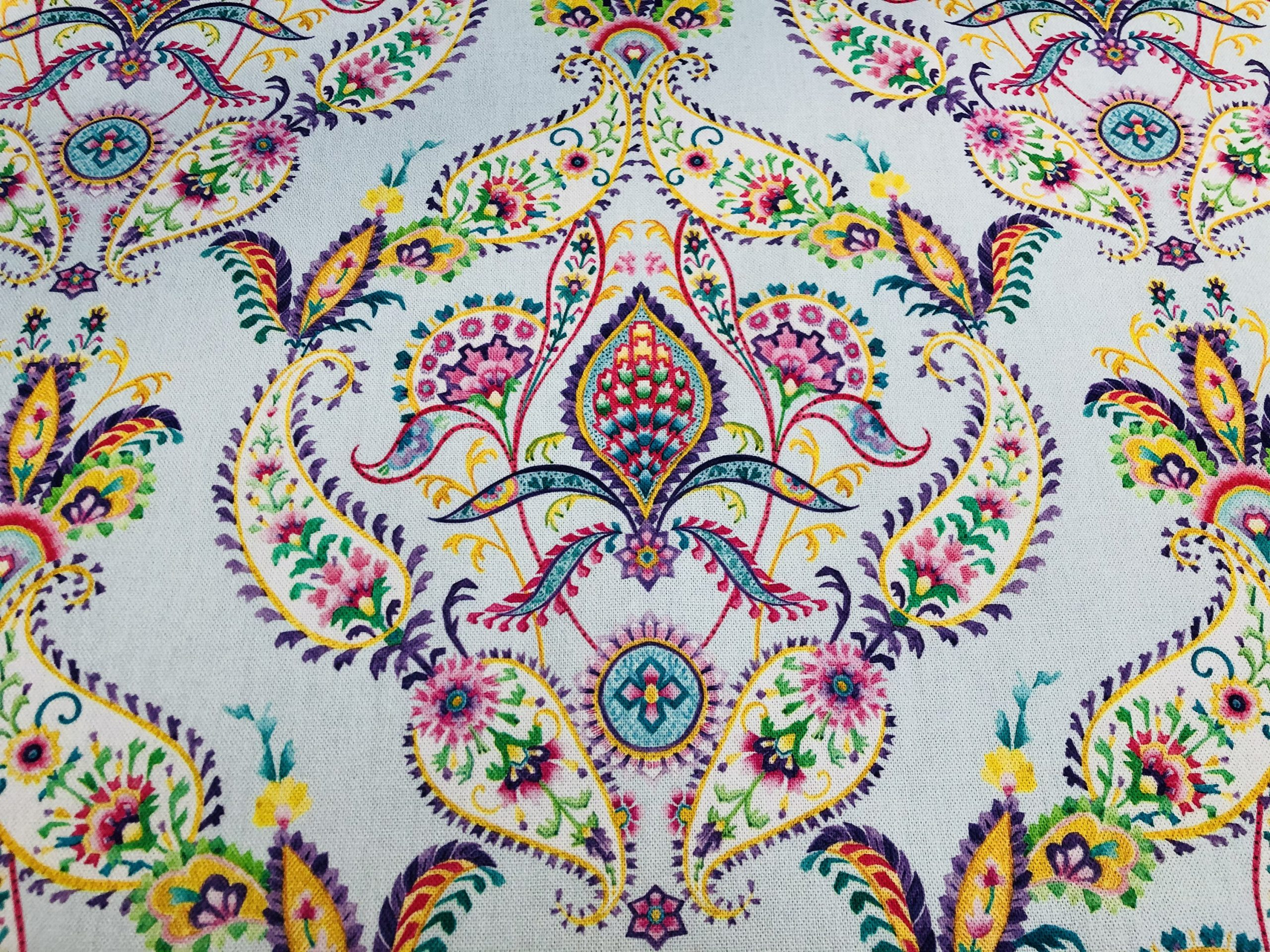 """Prussian Paisley Fabric Pastel Floral Easter Material Home Decor Curtain Upholstery 140cm or 55"""" wide – Multicoloured"""