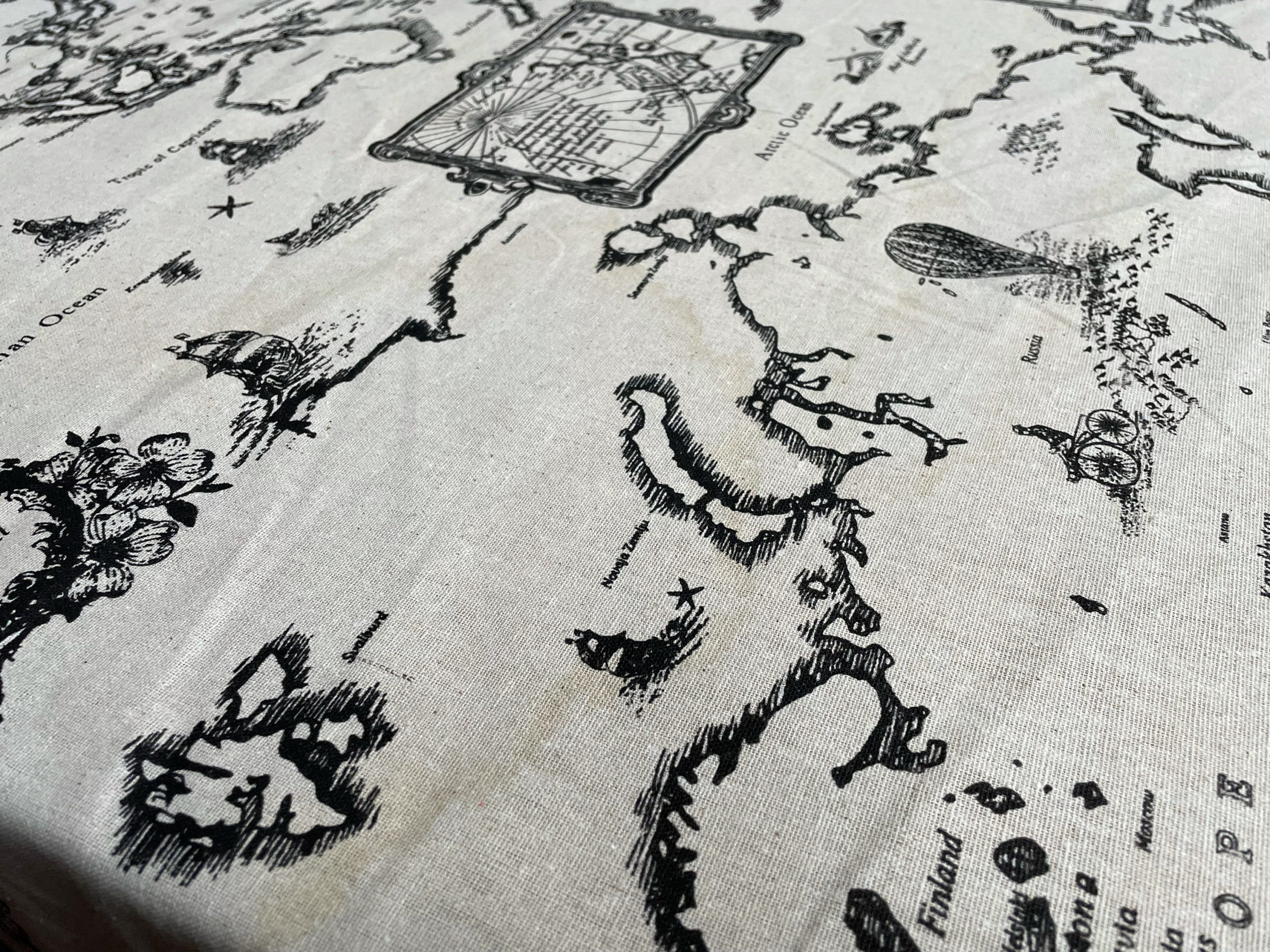 """DAMAGED STOCK – World Map Linen Fabric Curtain Cotton Linen Upholstery Material Hessian Cream Black 59"""" or 150cm wide (sold by metre)"""
