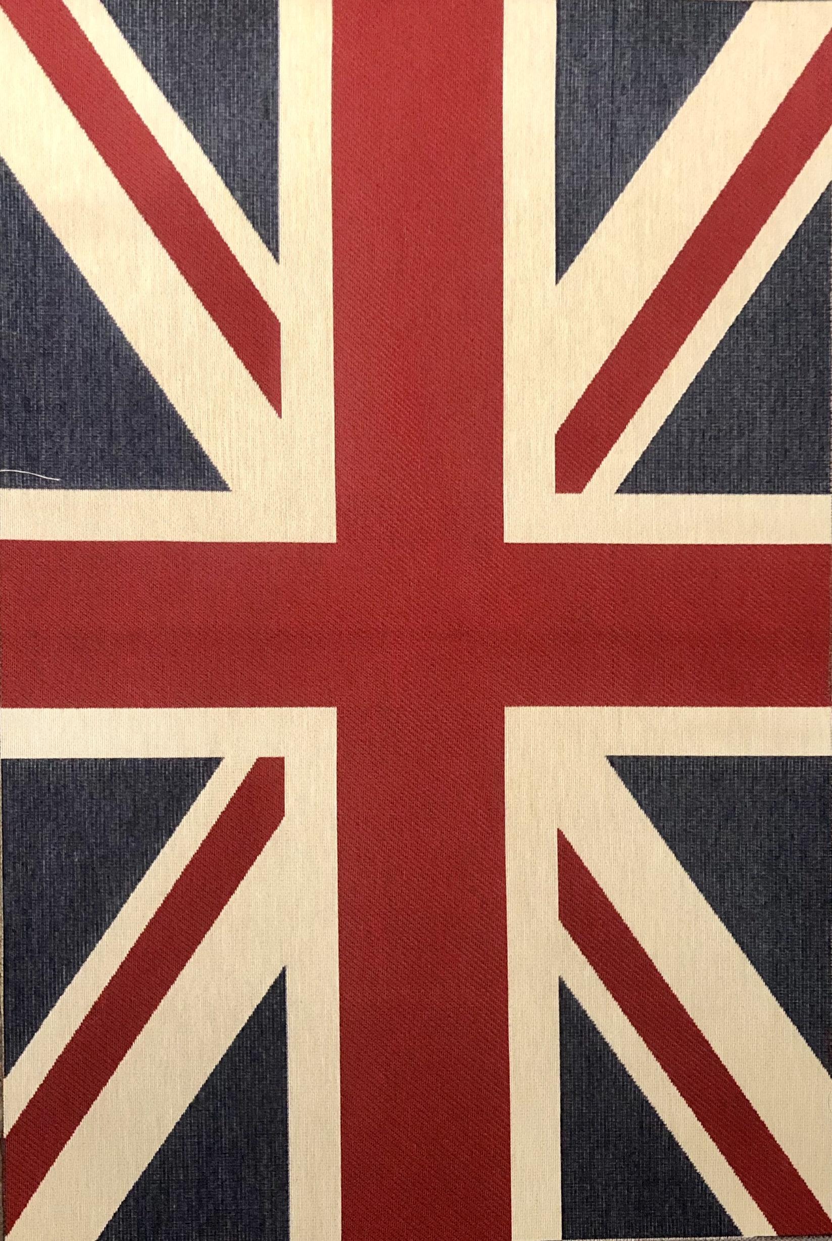 LARGE Union Jack Flag Retro Linen Look Heavy Jacquard Gobelin Upholstery Cotton Bag Cushion Panel Fabric UK Banner 70 X 49 cm or 27'' x 19''