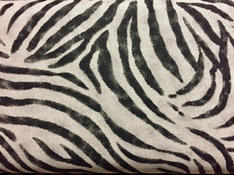 "Zebra Black Stripes Print Designer Linen Look Cotton Fabric Furnishing Curtain Upholstery Dressmaking Material 110""/280cm EXTRA Wide"