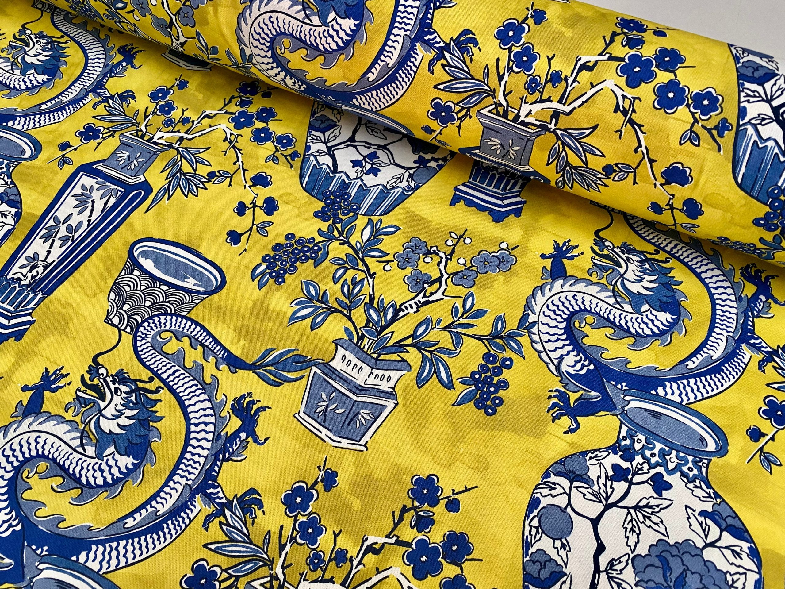 """BLUE Chinese Dragon Fabric Asian Porcelain Motif Material Home Decor Curtain Upholstery 140cm or 55"""" wide – Mustard & Blue"""