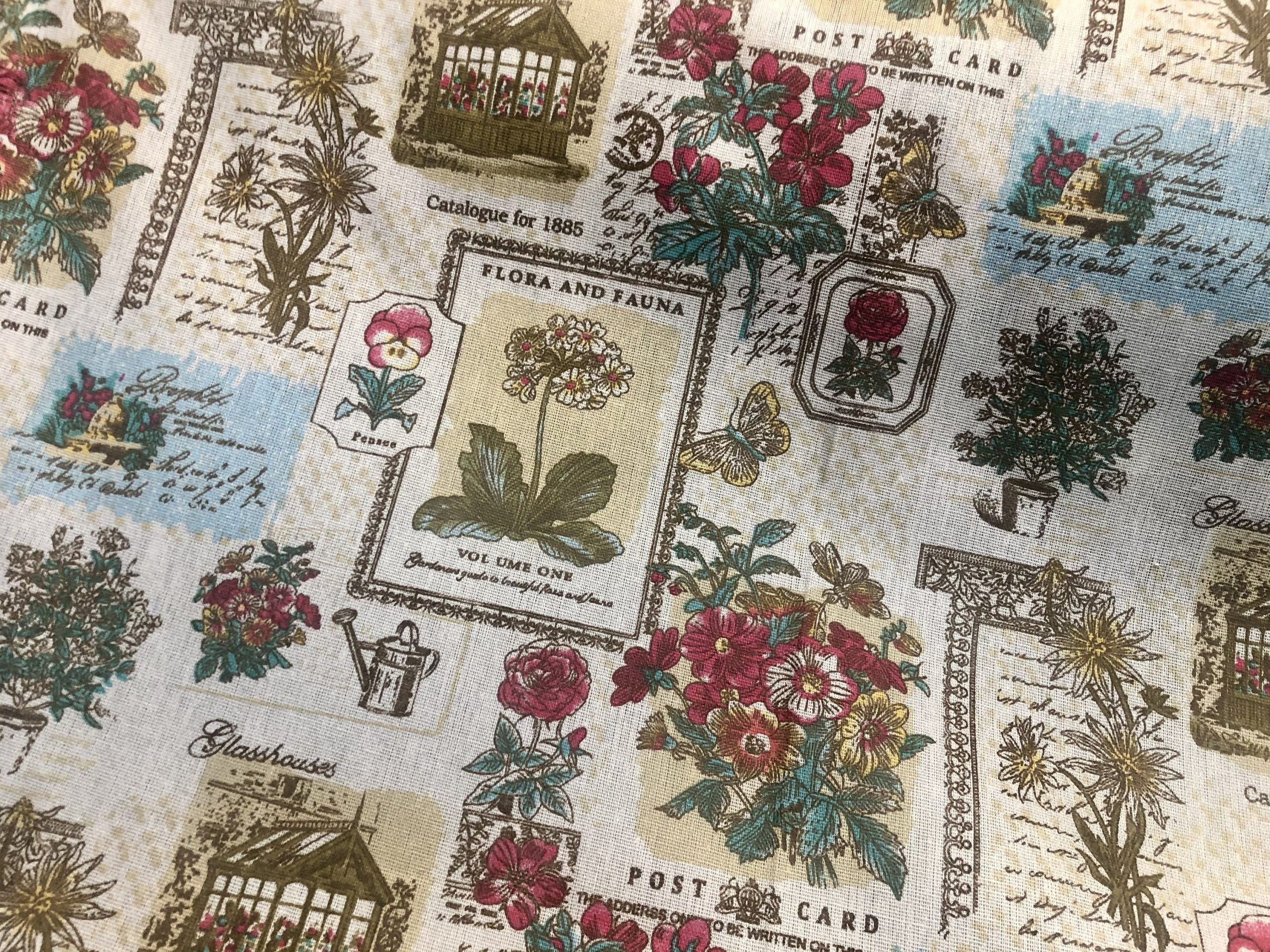 """Botanic Garden Cotton Linen Blend Fabric Natural Vintage Look Floral Printed Material Home Decor Curtain Upholstery- 59""""/150cm Wide Canvas"""