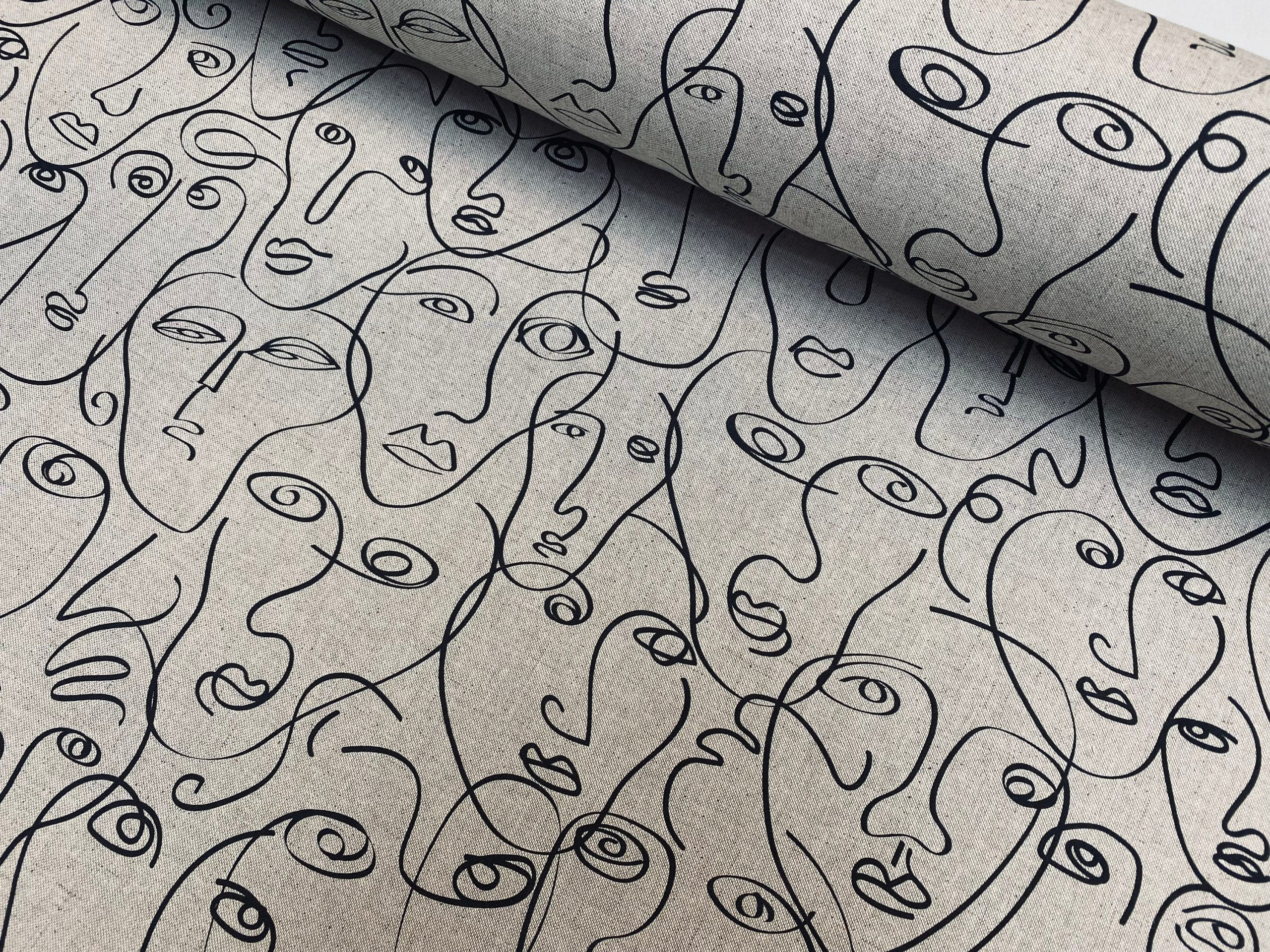 """Picasso Faces Digitally Printed Fabric Furnishing Curtain Upholstery Dressmaking Cotton Material 55""""/140cm Wide Canvas"""