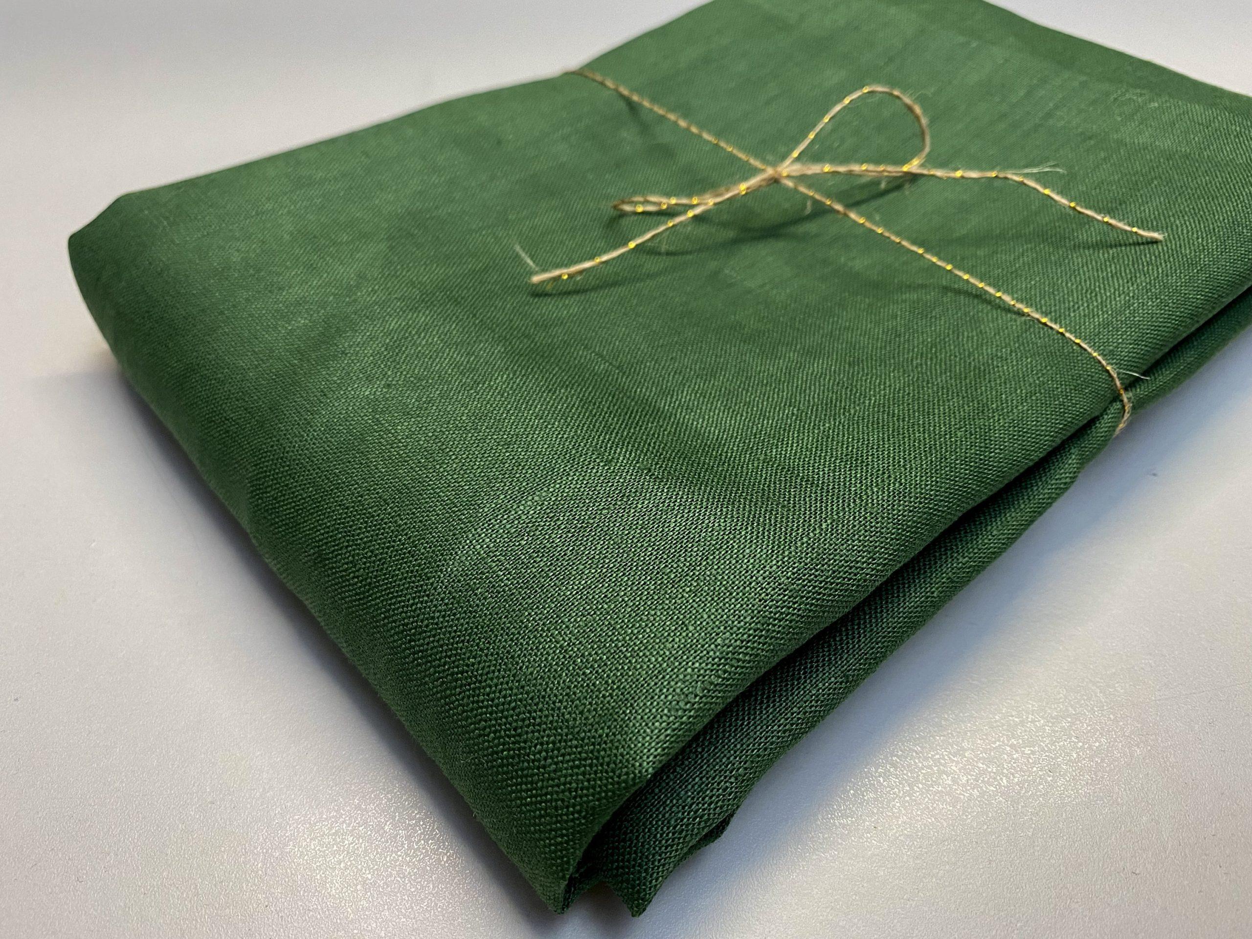 Soft Linen Fabric Material –  100% Linen for Home Decor, Curtains, Clothes – 140cm wide – Plain GREEN