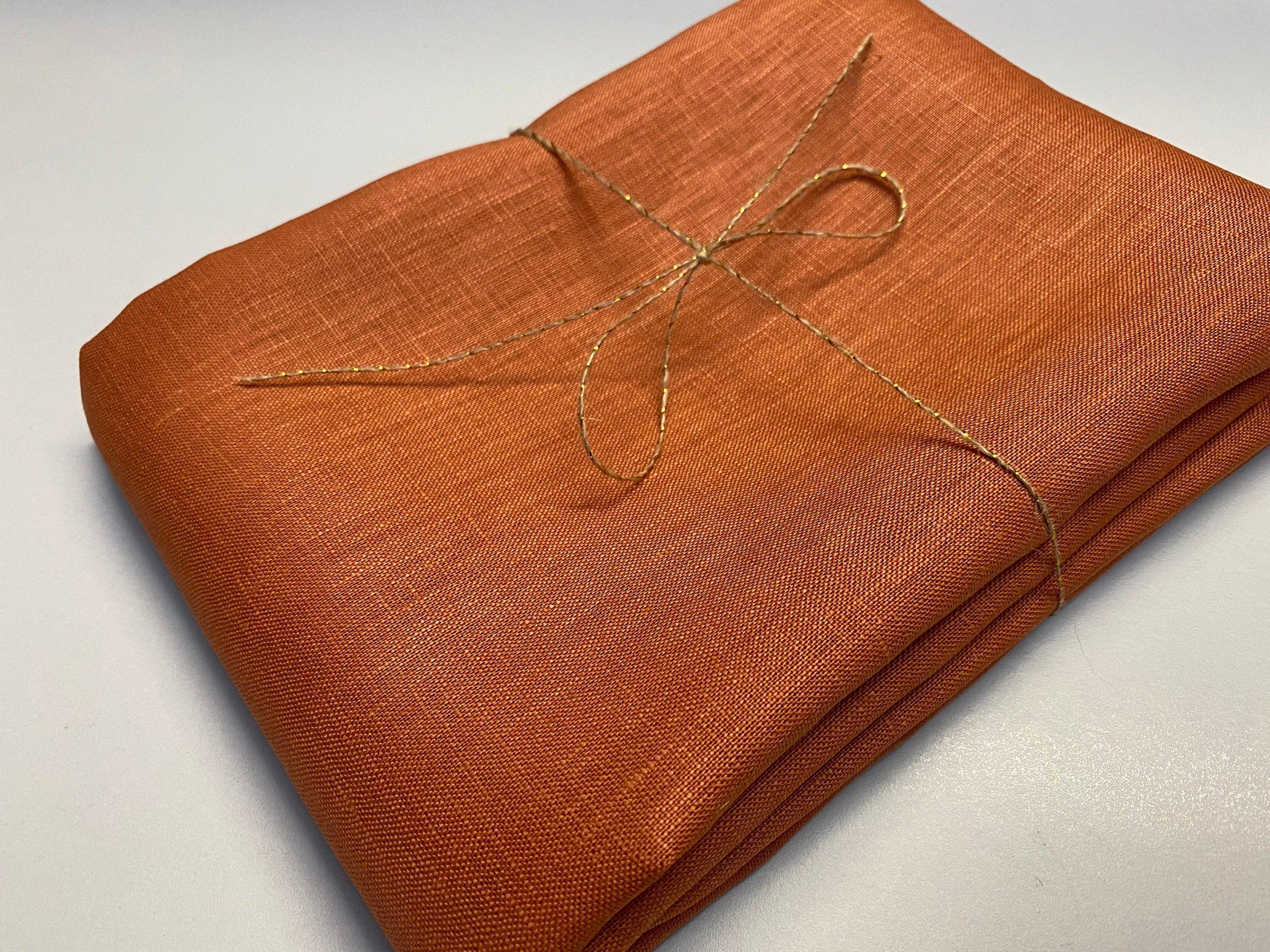 Soft Linen Fabric Material –  100% Linens Textile for Home Decor, Curtains, Clothes – 140cm wide – Plain BURNT ORANGE