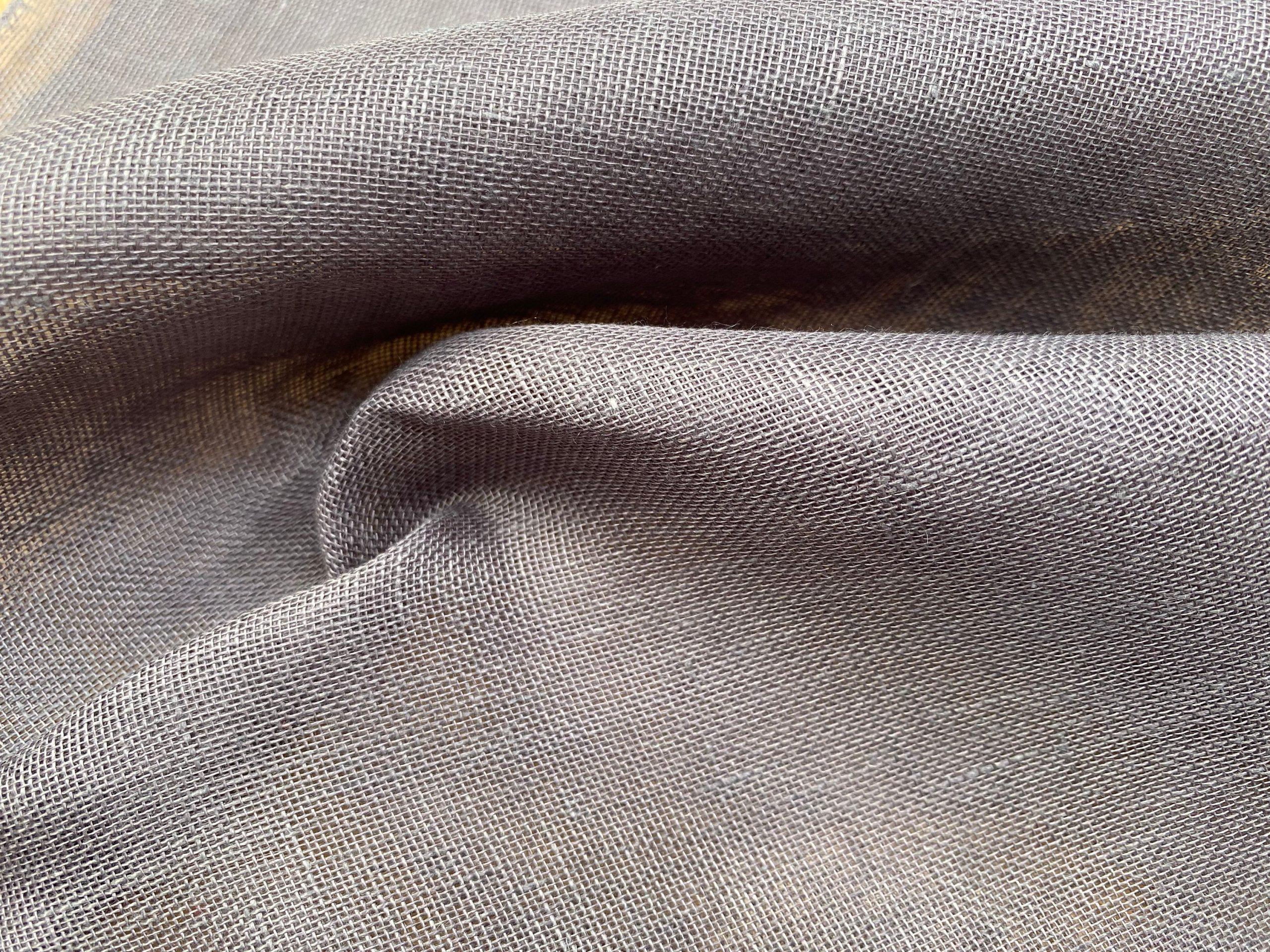 Extra Wide 100% Linen Fabric – Soft Linen Material for Home Decor, Curtains, Clothes – 118″/ 300cm wide – Plain GREY PLUM