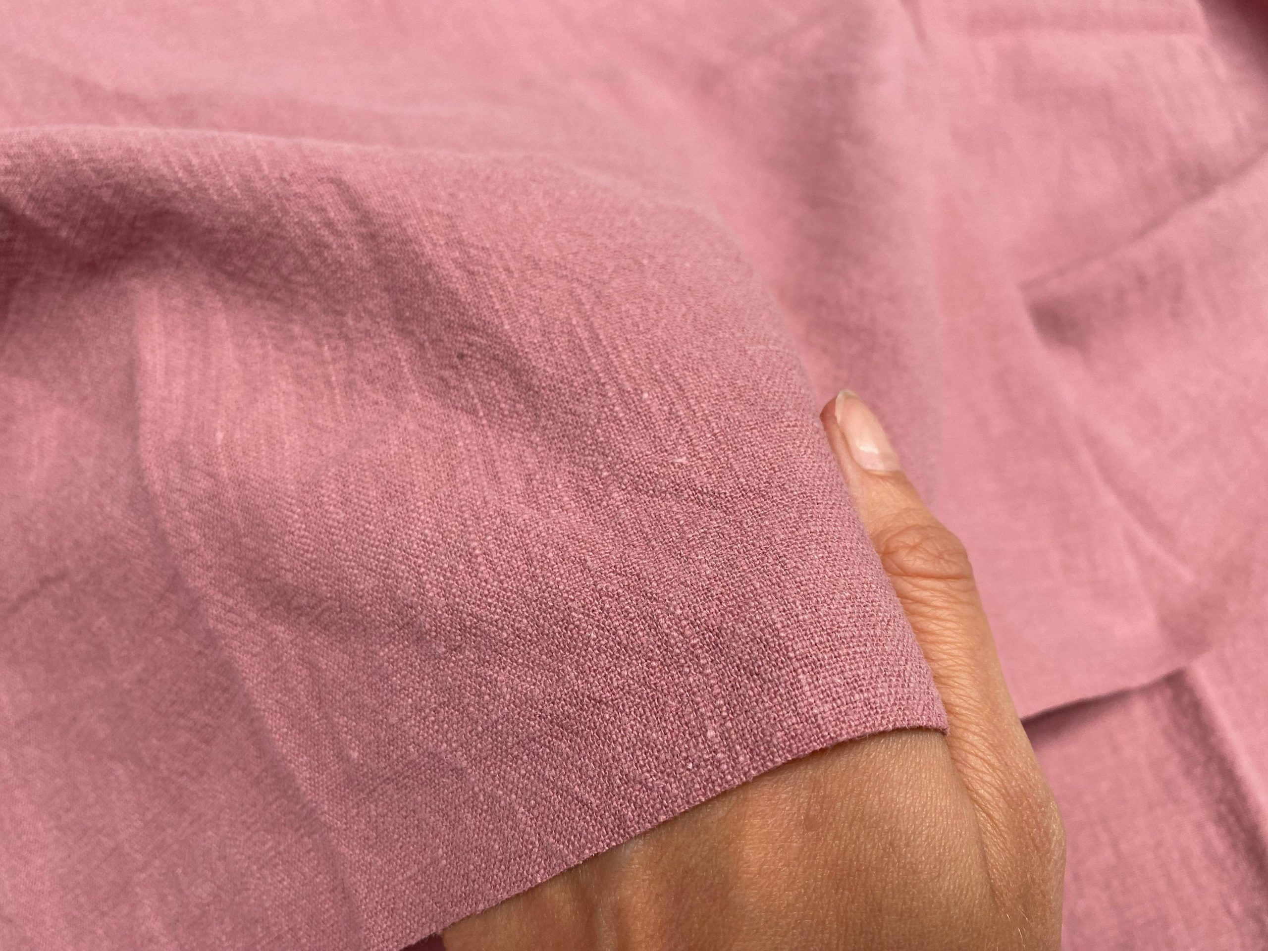Dusty Pink Stone Washed Pure Plain Linen Fabric Material – 100% Linens Home Decor Bedding Clothes Curtains – 55″ 140cm Wide