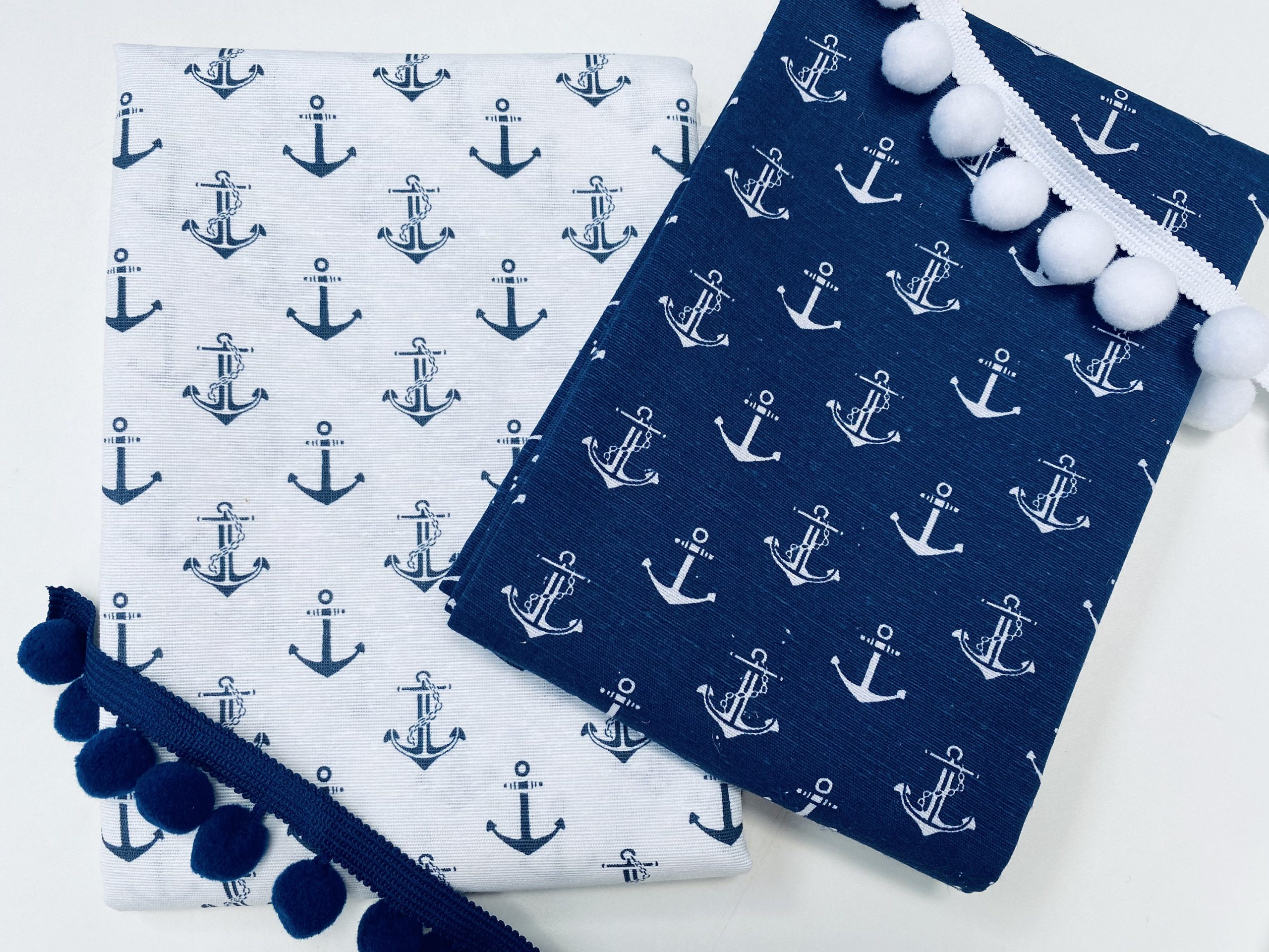 Small Anchor Fabric – Curtains, Upholstery, Dress Material – Ocean Marine Design – 140 cm Wide Textile – Blue & White